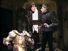 Prince Edmund (Rowan Atkinson) is haunted by the headless ghost of Richard III (Peter Cook)
