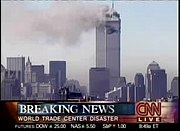 CNN breaking the news about the September 11, 2001 attacks