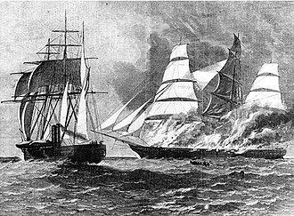 CSS Florida (cruiser) - Illustration from Harper's Weekly in 1863 of CSS Florida (left) burning the clipper Jacob Bell (right) off the West Indies on 13 February 1863. She had captured Jacob Bell the previous day.