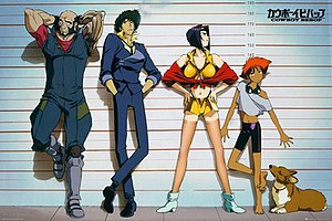 Shinichirō Watanabe - The main cast of Cowboy Bebop from left to right: Jet Black, Spike Spiegel, Faye Valentine, Edward, and Ein.