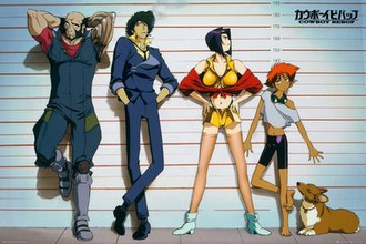 Cowboy Bebop - The main cast from left to right: Jet Black, Spike Spiegel, Faye Valentine, Edward, and Ein