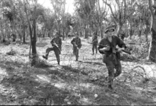 A number of armed soldiers moving in a tactical formation move through the trees towards some barbed wire.