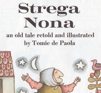 """Strega Nona - Detail of title page of an early printing with incorrect """"an old tale retold..."""" subtitle"""