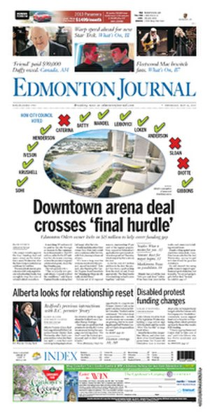 Edmonton Journal - Front Page - May 16, 2013