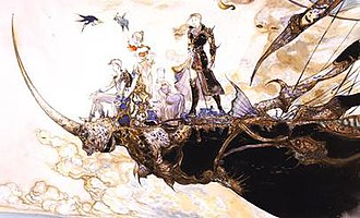 Final Fantasy V - Concept art of the playable characters of Final Fantasy V by Yoshitaka Amano; from left, Bartz, Krile, Lenna, and Faris