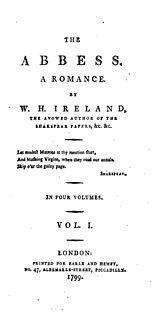 <i>The Abbess</i> gothic novel by William Henry