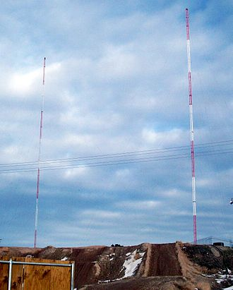 KIHU - KIHU's tower (right) near Magna, Utah. The tower on the left is used by KMRI.