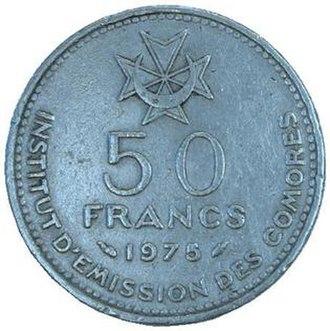Comorian franc - 50 francs, 1975