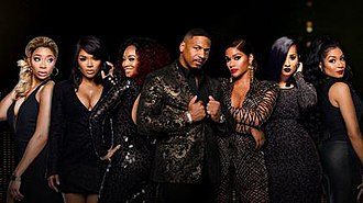 Love & Hip Hop: Atlanta - The cast of the sixth season, from left to right: Tommie, Rasheeda, Mimi, Stevie J, Joseline, Tammy and Karlie.
