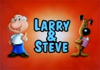 An elder white-haired cartoon man with a white shirt and blue jeans next to a brown furred cartoon dog holding a book with a red background
