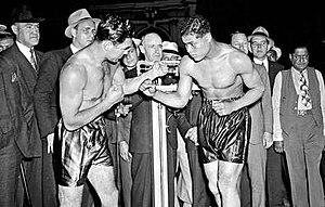 Joe Louis vs. Max Schmeling - The weigh-in for Louis vs. Schmeling, 1938