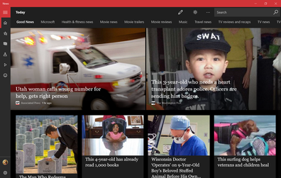 Microsoft News on Windows 10 in dark mode