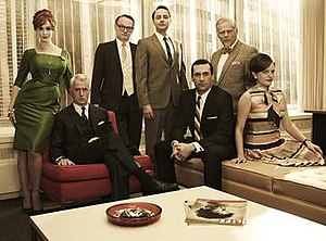 Mad Men - Mad Men Season 5 core cast from left to right: Christina Hendricks, John Slattery, Jared Harris, Vincent Kartheiser, Jon Hamm, Robert Morse, Elisabeth Moss