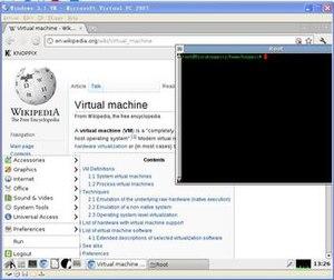 Windows Virtual PC - Virtual PC 2007 running the Live CD OS Knoppix