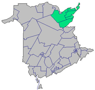 Acadian Peninsula - New Brunswick electoral districts, with districts of the peninsula highlighted in green