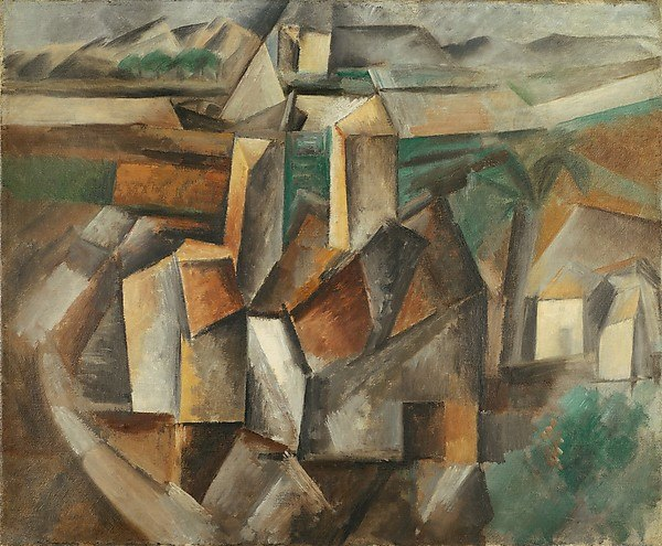 Pablo Picasso, 1909, The Oil Mill (Moulin %C3%A0 huile), oil on canvas, 38.1 x 45.7 cm (15 x 18 in.), Metropolitan Museum of Art