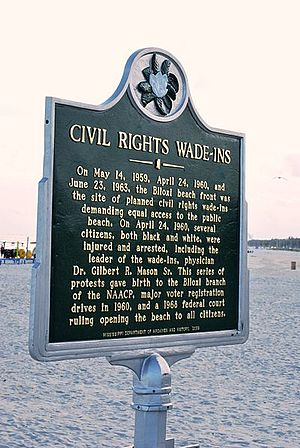 Biloxi wade-ins - Mississippi state historical marker on Biloxi Beach commemorating the wade-ins