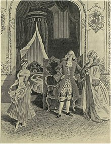 scene from operatic production, showing a man, woman and girl in 18th century costume