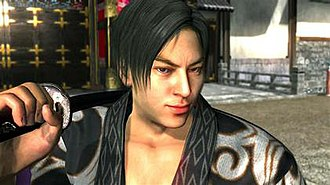 Yakuza Kenzan - Cyberware Inc.'s facial scan technology was used with main characters and fully exploited on the Event Mode's high polygon models. Here character Gion Toji borrows actor Takashi Tsukamoto's physical appearance