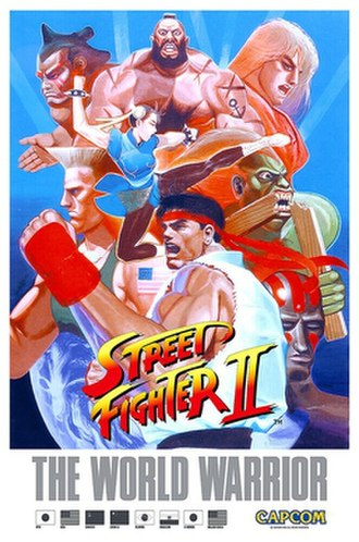 Street Fighter II: The World Warrior - A Japanese brochure for the arcade version of Street Fighter II, featuring the original eight main characters. Clockwise from top left: E. Honda, Zangief, Ken, Blanka, Dhalsim, Ryu, and Guile. At the center: Chun-Li.