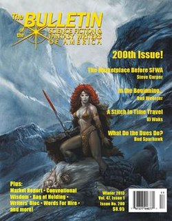 The cover image of SFWA Bulletin no. 200, the official publication of the Science Fiction and Fantasy Writers of America, published in 2013. The cover image depicts a sword-wielding fantasy heroine, clad only in a sort of chainmail bikini, standing over a defeated monster among snow-covered mountains.