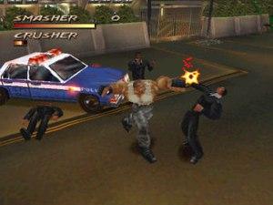 "Fighting Force - A screenshot of Ben ""Smasher"" Jackson punching a generic enemy"