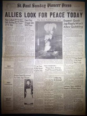 Twin Cities Pioneer Press - A St. Paul Sunday Pioneer Press front page dated August 12, 1945 featuring the first publication of the mushroom cloud during the atomic bombing of Hiroshima, Japan.