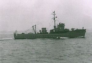 USS Gull (AMS-16) - USS Gull (AMS-16) conducts minesweeping operations on 15 June 1951 in support of commando raid by British Royal Marines on Chinnampo, North Korea, during the Korean War.