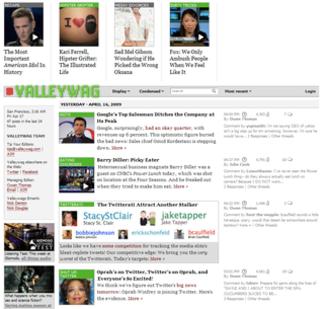 Valleywag - Image: Valleywag Homepage
