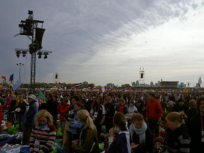 The Final Mass held at Southern Cross Precinct (named specifically for the event) drew 350,000 pilgrims. WYD08 FinalMass.JPG