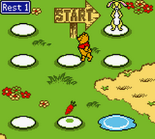Pooh And Rabbit Move During The Board Game Portion Of Gameplay
