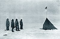 Roald Amundsen and his team at the South Pole