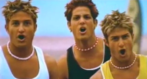 """B4-4 - b4-4 in their music video for """"Get Down"""" (left to right: Ryan Kowarsky, Ohad Einbinder, and Dan Kowarsky)"""