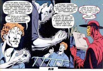 "Batman: Anarky - Anarky conveys anarchist philosophy through a dialogue in ""Anarky: Tomorrow Belongs to Us"".  Illustration by Staz Johnson."