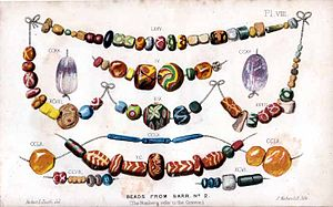 Anglo-Saxon glass - A collection of Anglo-Saxon beads from a cemetery at Sarr