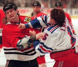 Bob Probert - Bob Probert (left) in a fight with Darren Langdon.