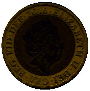 British two pound coin 2016 obverse