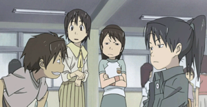 Dennō Coil - From left to right: Daichi, Yasako, Fumie, and Isako.