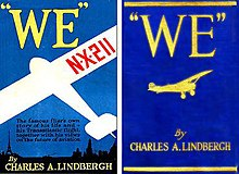 "Dustjacket for the book ""WE"" by Charles A. Lindbergh (First Edition) published July, 1927.jpg"