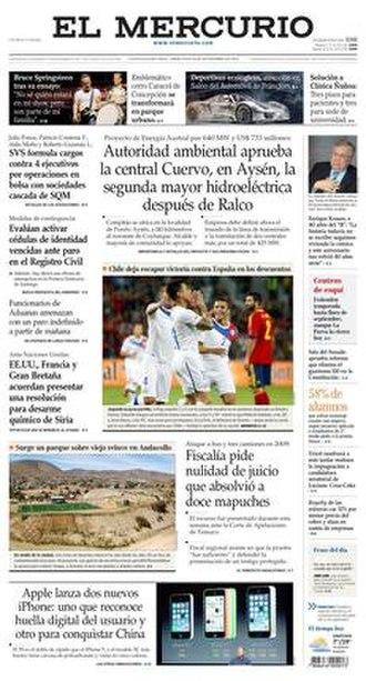 El Mercurio - Image: El Mercurio, 11 September 2013