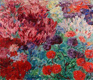 Blumengarten (ohne Figur), oil on canvas, 1908