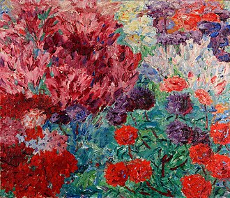 Emil Nolde - Flower Garden (without figure) (Blumengarten, ohne Figur), 1908, oil painting on canvas