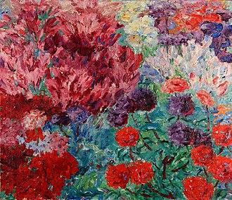 Emil Nolde - Flower Garden (without figure) (Blumengarten, ohne Figur), 1908, oil painting on canvas