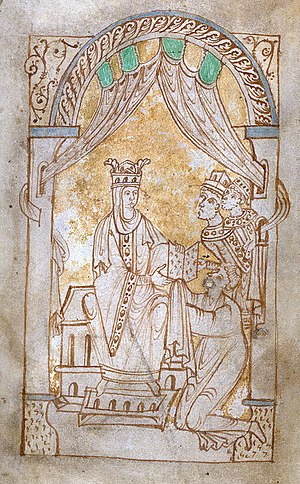 Emma of Normandy - Emma receiving the Encomium, in The Encomium Of Queen Emma, British Library MS 33241.