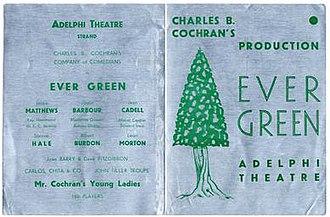 Ever Green - Advertising flyer for Ever Green, Adelphi Theatre, London, 1930