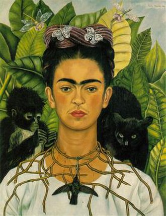 Self-portrait - Frida Kahlo, Self-Portrait with Thorn Necklace and Hummingbird, Nickolas Muray Collection, Harry Ransom Center, University of Texas at Austin