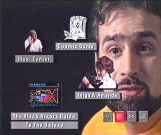 Hyperland - Adams navigates through the interviews and explanations in the documentary using animated icons. Playback controls shown in the bottom right corner during each interview convey an additional sense of interactivity.