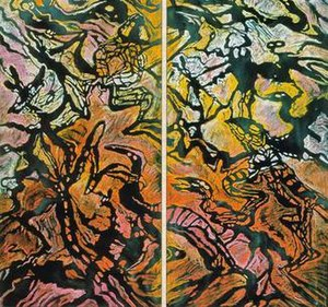 Elizabeth Durack -  In the beginning . . . (Genesis 1) 1997, mixed media on linen, diptych, each 190x92