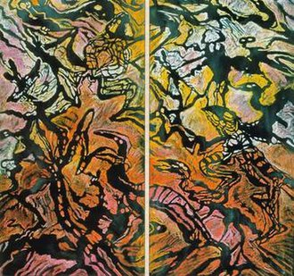 Elizabeth Durack -  In the beginning . . . (Genesis 1) 1997, mixed media on linen, diptych, each 190x92
