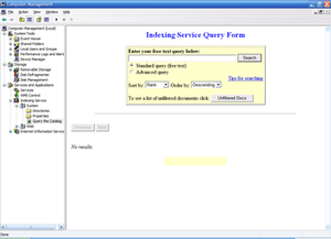 The Indexing Service Query Form, used to query Indexing Service catalogs, hosted in Microsoft Management Console.